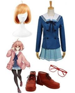 Beyond the Boundary Mirai Kuriyama Cosplay Costume+ Glasses + Wigs + Shoes