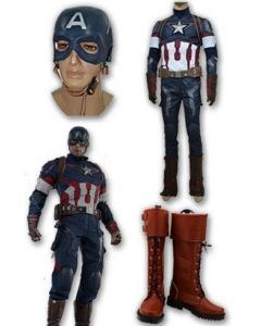 Captain America Steve Rogers Whole Set Cosplay Costume + Boots + Mask