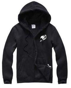 Fairy Tail Black Hoodie Jacket White Logo Cosplay Costume