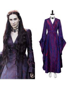 Game of Thrones Season 6 Melisandre Purple Stripe Cosplay Costume
