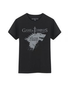 Game of Thrones Winter Is Coming Stark Black T-Shirt Men Ver.