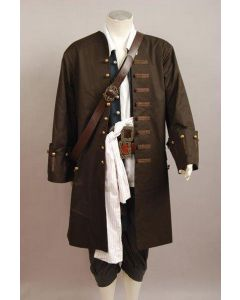 Pirates Of The Caribbean Jack Sparrow Jacket Vest Belt Shirt Pants Costume Set
