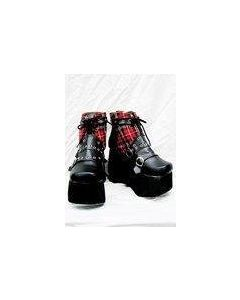 Punk Red Plaid Classical Boots A Version Custom-Made