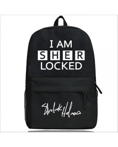 Sherlock Holmes I AM SHER LOCKED Schoolbag Black Backpack