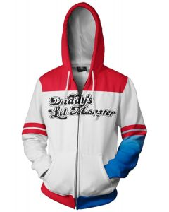 Suicide Squad Harley Quinn White Red Pattern Hoodie Girls Zip Up Sweatshirt