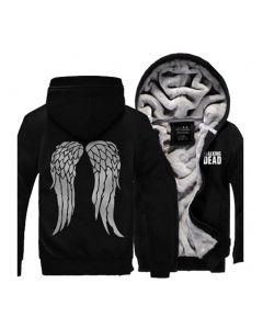 The Walking Dead Black Hoodie Jacket Winter Wing Painted Coat Costume