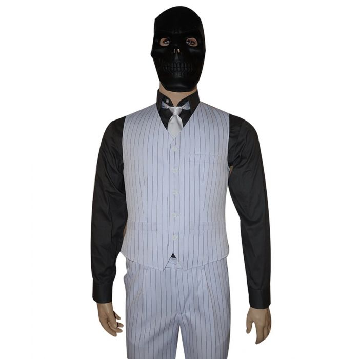 Batman Arkham Origins Roman Sionis Black Mask Stripe Suit Cosplay Costume