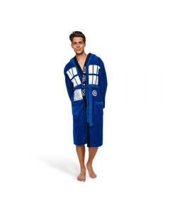 Doctor Who Blue Hooded Bath Robe Costume Bathrobe
