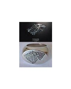 Game of Thrones Stark Direwolf Sigil Silver Plated Ring