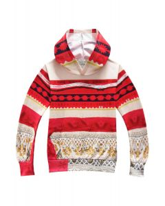 Hoodies for Girls Moana Outfit 3D Pattern Sweatshirt for Kids Red