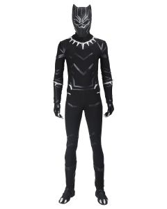 Marvel 2018 Black Panther T¡®Challa outfit jumpsuit Halloween cosplay costume+mask+shoes whole set