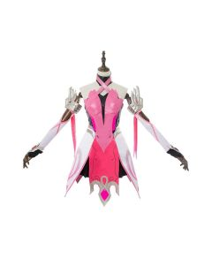 Overwatch Mercy Angela Ziegler Outfit Pink Mercy Skin Cosplay Costume