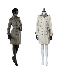 Resident Evil 2 Remake Re Ada Wong/Wang Trenchcoat + Red Dress Cosplay Costume