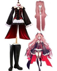 Seraph of the End Vampires Krul Tepes Cosplay Costume + Wigs + Shoes