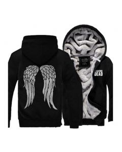 The Walking Dead Black Hoodie Jacket Winter Wing Painted Coat Costume