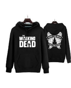 The Walking Dead Fight the dead Fear the Living Back Wing Logo Hoodie Costume