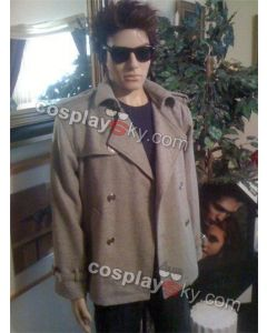 Twilight Edward Cullen Grey Gray wool Jacket Pea Coat Costume Custom Made